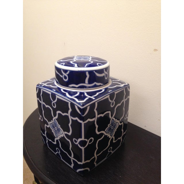 Blue & White Square Ginger Jar - Image 6 of 6