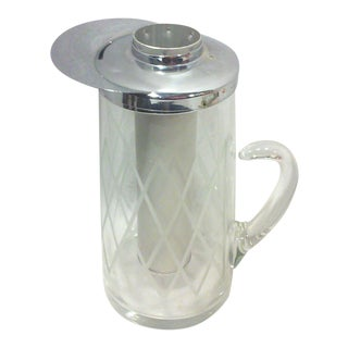 Deco Etched Glass and Chrome Water Chilling Pitcher For Sale