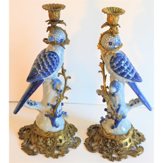 Metal (Final Markdown Taken) 1980s Blue and White Porcelain Ormolu Parrot Candlesticks - a Pair For Sale - Image 7 of 10