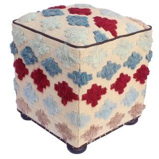 "Millicen Ivory/Blue Morrocan Wool Upholstered Handmade Ottoman (23""x19""x19"")"