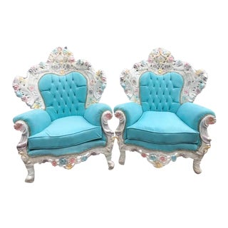 Pair of Unique Italian Baroque / Ventian Style Baby Blue Velvet Throne Chairs