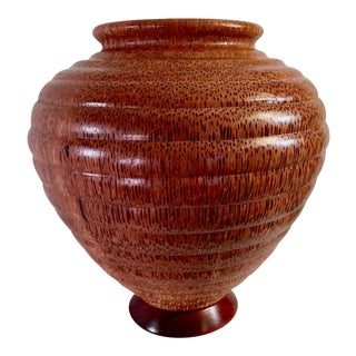 1991 Boho Chic Large Artisan Turned Bloodwood Palm Beehive Vase by John Penrod (Signed) For Sale