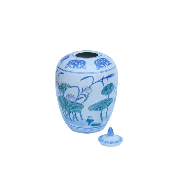 Asian Chinoiserie Ceramic Ginger Jar With Lid For Sale - Image 3 of 6