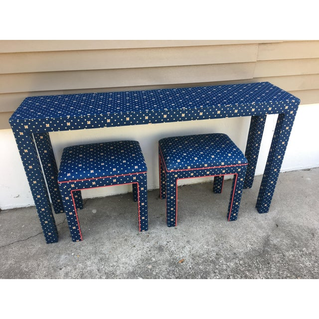 1970s Mediterranean Blue Upholstered Parsons Table With Matching Benches - 3 Pieces For Sale - Image 4 of 12