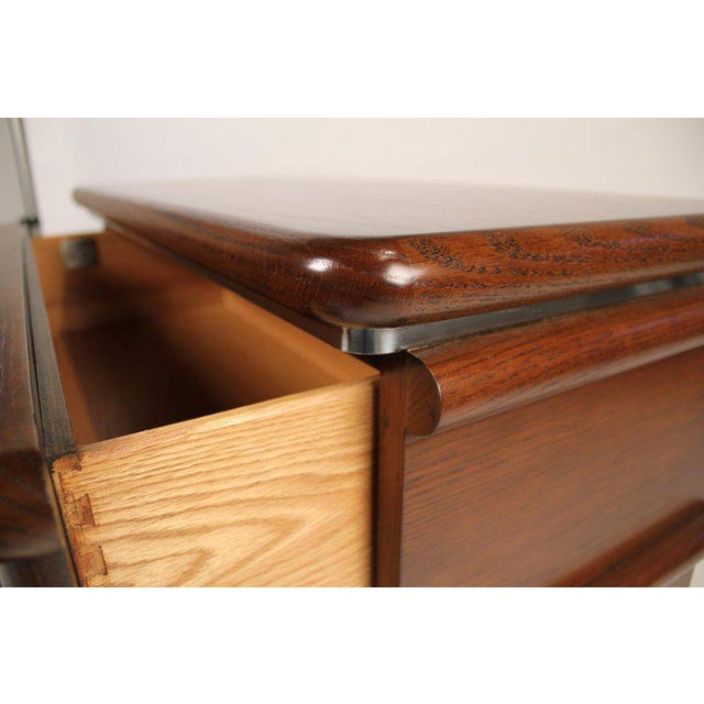 Jay Spectre Modernist Walnut and Brushed Stainless Nightstands For Sale - Image 9 of 10