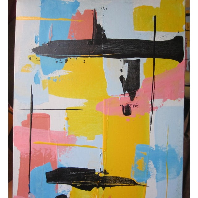 Abstract 1960s Vintage Jensen Abstract Geometric Vertical Panel Acrylic on Canvas Signed Painting For Sale - Image 3 of 7