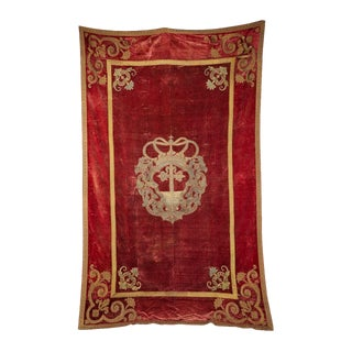 Early 18th Century Venetian Red Velvet Gold Trim Embroidered Tapestry For Sale
