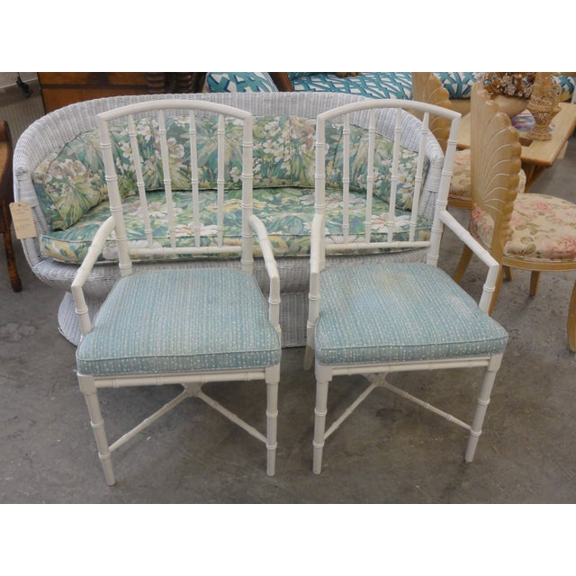 Pair of Faux Bamboo Arm Chairs in nice as found VINTAGE condition (see photos) Dimensions H-37 W-21 D -17 Seat -18 Arm -24.5