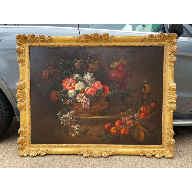 19th Century French Still Life Flower Oil Painting in Carved Gilt Frame For Sale - Image 13 of 13