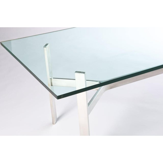 Mid-Century Modern Rectangular Nickel and Glass Coffee Table For Sale - Image 3 of 5