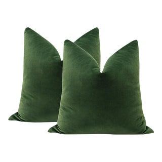 """22"""" Fern Green Velvet Pillows - a Pair"""