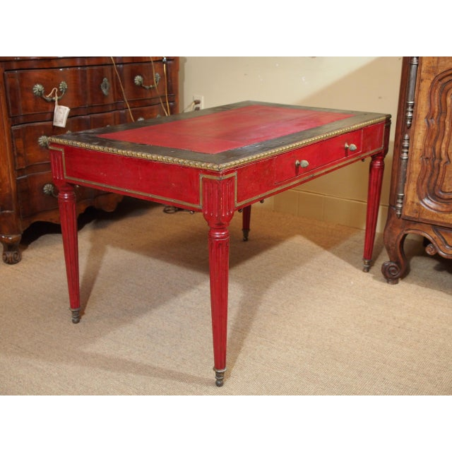 Vintage French Leather Writing Desk For Sale - Image 9 of 10