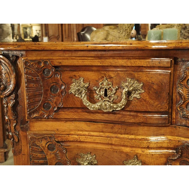 Gold French Walnut Wood Commode From Lyon, Circa 1750 For Sale - Image 8 of 13