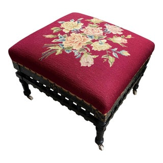Ebonized Aesthetic Movement Tabouret on Casters For Sale