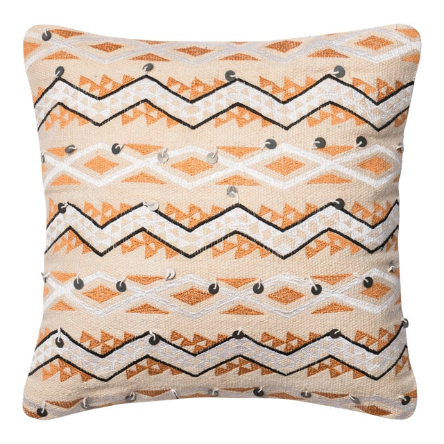 """Justina Blakeney X Loloi Orange / Ivory 18"""" X 18"""" Cover with Down Pillow For Sale"""