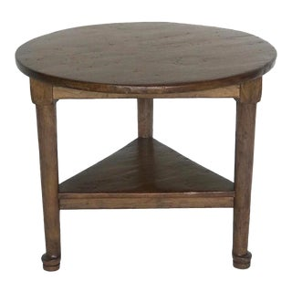 Custom Round Walnut Table With Shelf For Sale