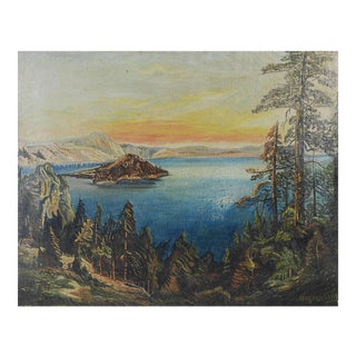 Crater Lake Oregon Oil on Canvas, 1920s