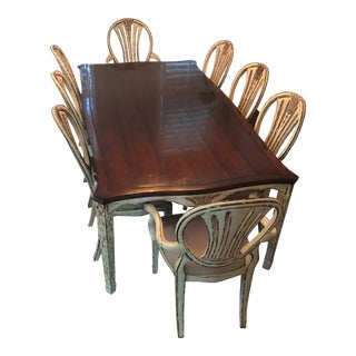 Jonathan Charles Rustic French Provincial Walnut Distressed Base Dining Set
