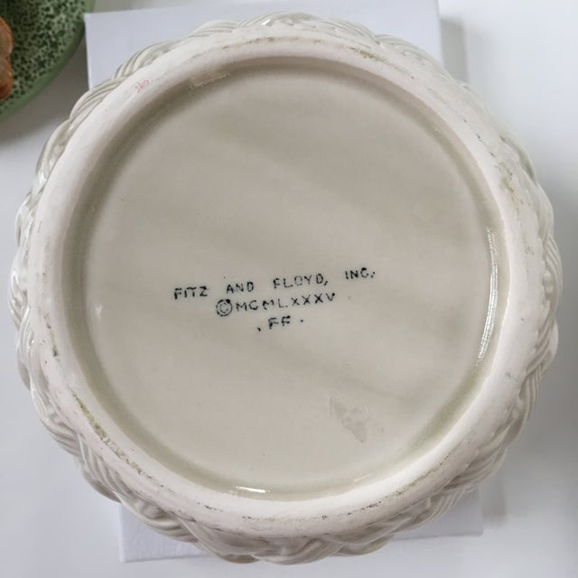 Ceramic 1980's Hand Painted Fitz and Floyd Basketweave Mushroom & Oak Leaf Covered Dish For Sale - Image 7 of 12