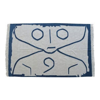 Paul Klee -Letter Ghost Inspired Silk Hand Woven Area Kilim Wall Rug 4′2″ × 6′6″ For Sale