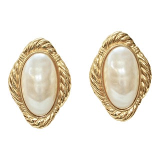 Givenchy Baroque Pearl Gold Plated Earrings For Sale