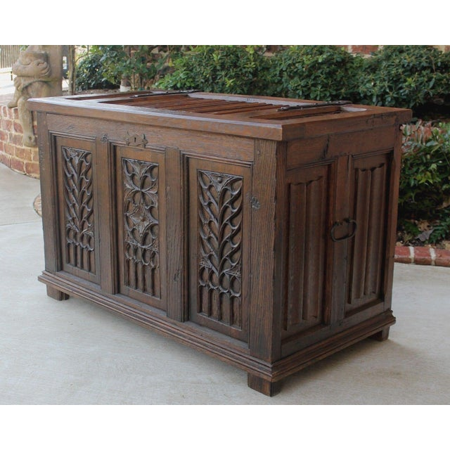 French Antique French Oak 19th Century Gothic Coffer Chest Blanket Box Trunk For Sale - Image 3 of 12
