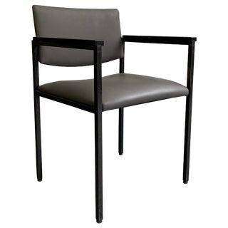 Mid-Century Modern Steel Frame Leather Armchair For Sale