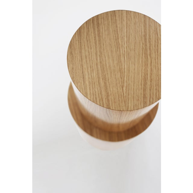 Contemporary Contemporary 100 Side Table in Oak and White by Orphan Work For Sale - Image 3 of 5