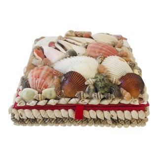 Vintage Seashell Box with Red Lining, 1940s For Sale