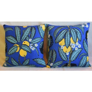 "Designer Josef Frank ""Notturno"" Floral Linen Feather/Down Pillows 18"" Square - Pair Preview"