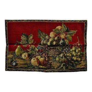 """42"""" X 26"""" French Wall Hanging Tapestry Jacquard Aubusson Fruit Still Life Red"""