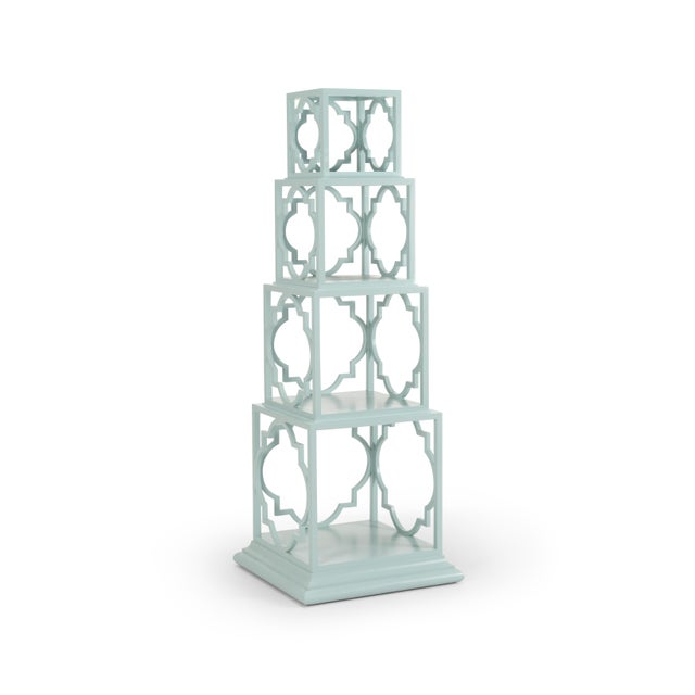 nested and stacking etagere. wood construction with painted finishl x lg: 22w x 22 d x 26.5h, lg: 19w x 19d x 26.5h, med:...