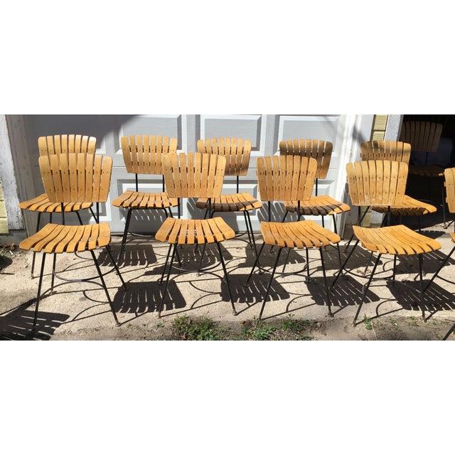 Mid-Century Modern Arthur Umanoff Slatted Wood & Iron Chairs - Set of 30 For Sale - Image 3 of 13