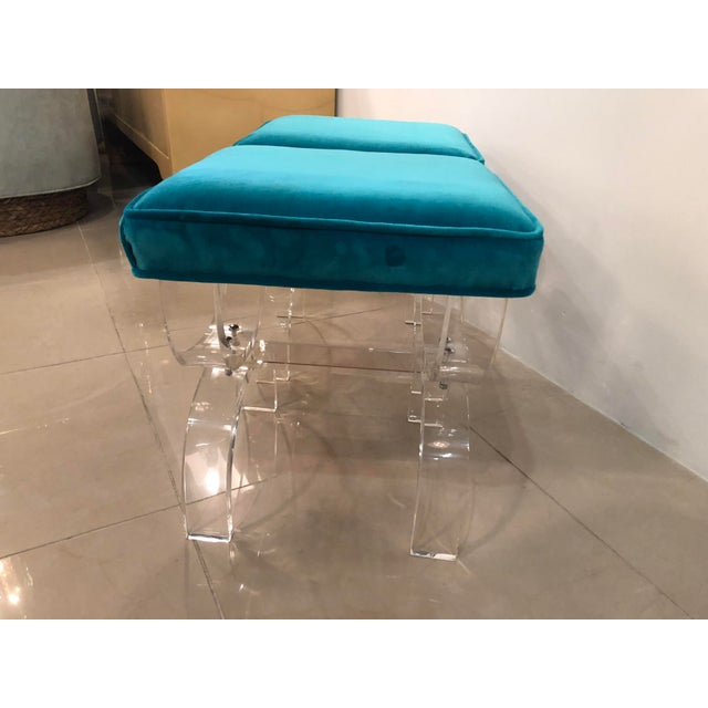 Vintage Hollywood Regency Blue Velvet Lucite X Benches Stools -A Pair For Sale - Image 11 of 13