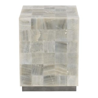 White Onyx Laminated Stone Top Trimbelle End Table