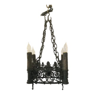Antique French Wrought Iron Fixture, Circa 1880-1890. For Sale