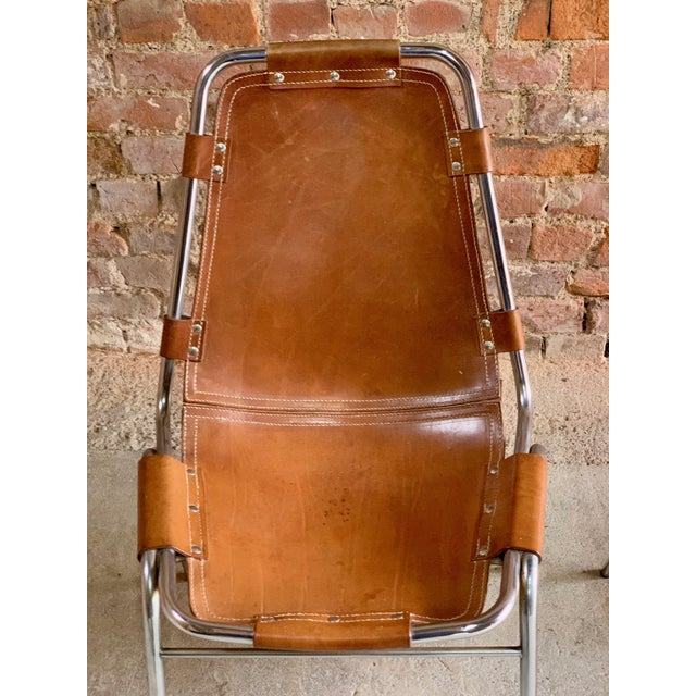 Les Arcs Leather Tan Dining Chairs, 1970s - Set of 4 For Sale - Image 6 of 11