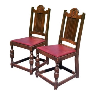 Antique Gothic Victorian Tall Back Bishop Chairs W/ Heraldry Shelf - a Pair For Sale