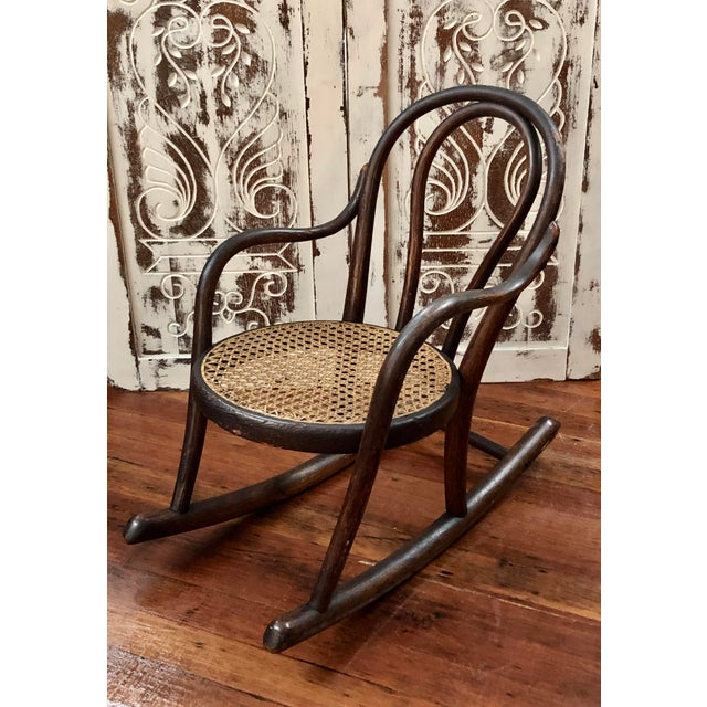 Late 20th Century Vintage Thonet Bentwood Childs Cane Set Rocker For Sale - Image 13 of 13