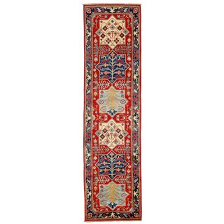 "Pasargad DC Pak Kazak Lamb's Wool Runner Rug - 3'4"" X 15'2"" For Sale"