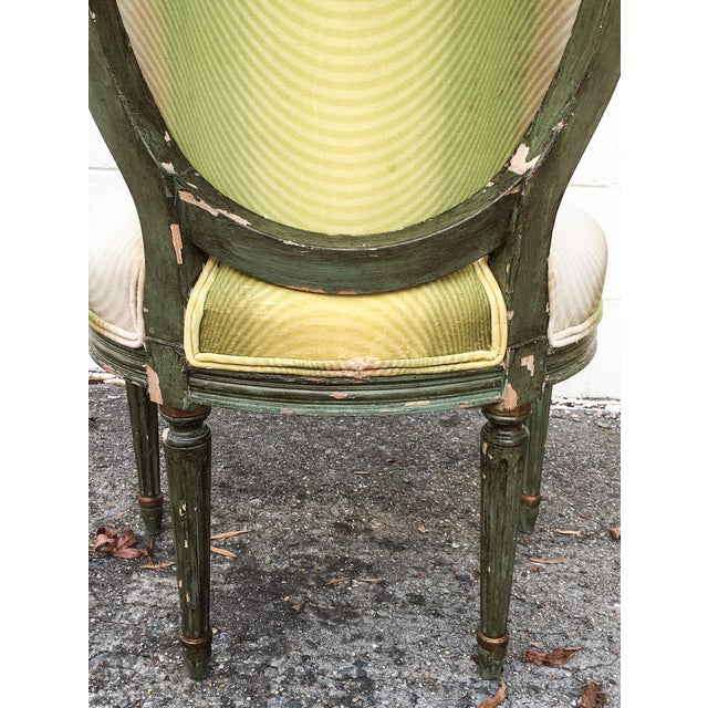 Vervain 19th Century French Fauteuil Chair with Green Ombre Velvet - Image 9 of 9