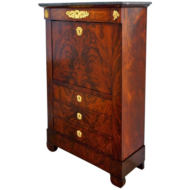 French Empire Secretaire a Abattant with Cuban Acajou Mahogany: 19th C. For Sale