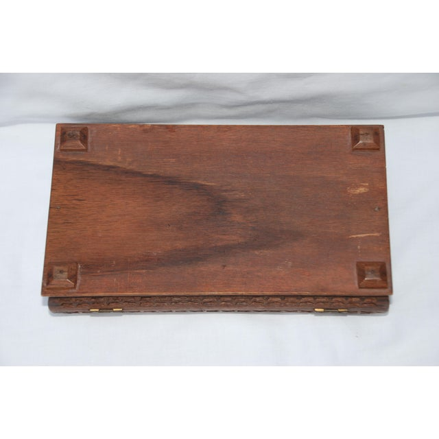 Brown Vintage Carved Wooden Footed Jewelry Box For Sale - Image 8 of 10