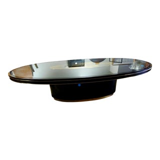 Simpatico Masters Fumed Oak, Satin Ebony & Glass Oval Pedestal Dining Table For Sale