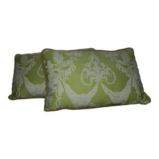 Mint Green Fortuny Pillows - a Pair-