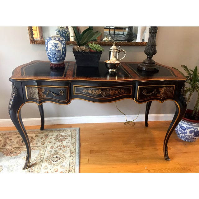 Drexel Chinoiserie Leather Writing Desk & Chair - Image 9 of 11