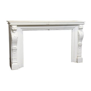 Carved White Wood Griffin Mantel For Sale