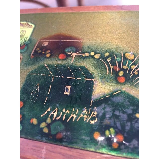 Sascha Brastoff Wood Box with Enamel Cover - Image 4 of 4