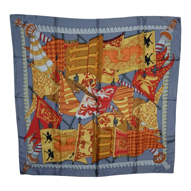 Hermes Flags & Banners Silk Scarf For Sale