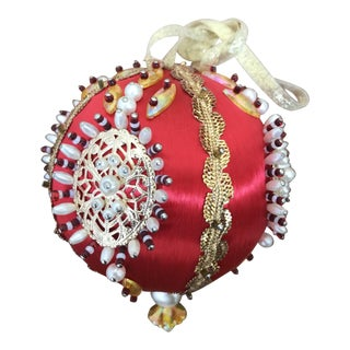 1950s Mid Century Beaded Fancy Christmas Ornament - Red White Gold For Sale